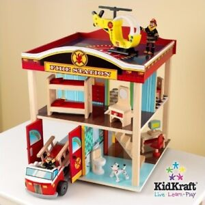 KidKraft Wooden Fire Station Toy Truck and Helicopter