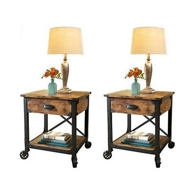 Bedside End Tables Bedroom Nightstand Country Vintage ...