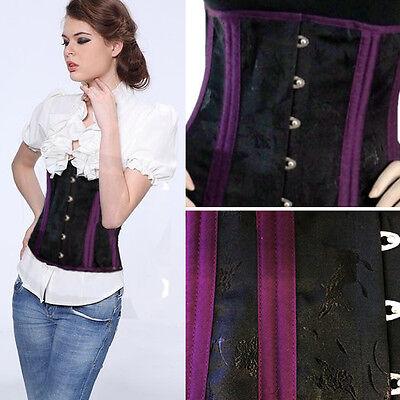 Steel Boned Waist Cincher Corset Steampunk Costume Black/Purple Plus Size S-6XL](Waist Cincher Costume)