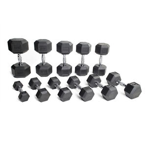 Rubber Coated Dumbell set - 5 to 80 lbs including 3 Tier Racks!