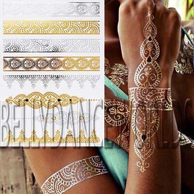 GOLD SILVER METALLIC FOIL FLASH TEMPORARY TATTOO HENNA FLOWER ARMBAND STICKER - Gold Foil Tattoo