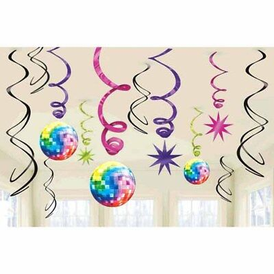 DISCO Party Time HANGING SWIRL DECORATIONS (12) ~ Birthday Supplies Foil 70s (70s Disco Decorations)