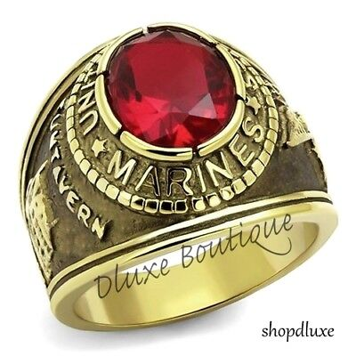 Men's 14k Gold Plated Siam Red United States US Marines Military Ring Size 8-14