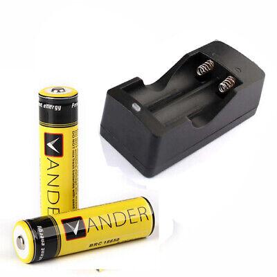 2X 18650 3.7v Li-ion 6000mAh Batterien Akkus+18650 Ladegerät Charger 3.7