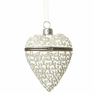 Clear Ornaments That Open (Clear Glass HEART Hinged Opening Christmas Tree Gift Bauble - ideal for that)