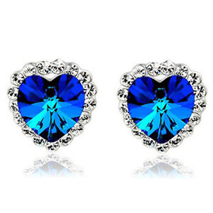 Crystal Heart of Ocean Royal Dark Blue Stud Earrings E958