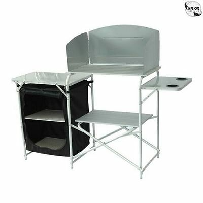 ROYAL Aluminium Camping Kitchen Stand with Windshield, Stand and Larder