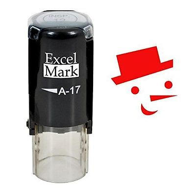 New Excelmark Snowman Round Self Inking Christmas Rubber Stamp A17 Red Ink