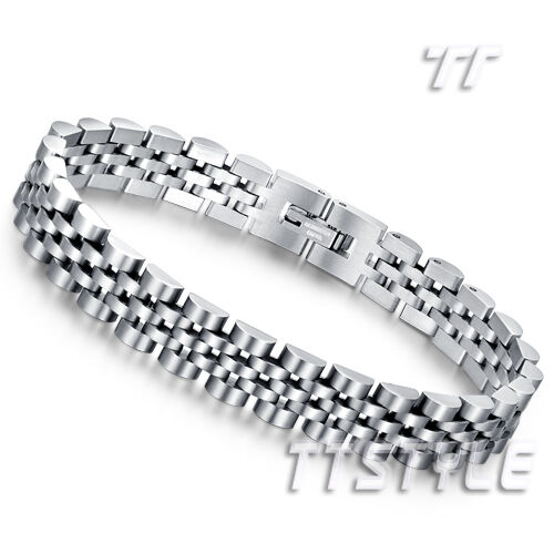Quality TT Silver Stainless Steel Biker Bracelet Wristband (BBR218) NEW