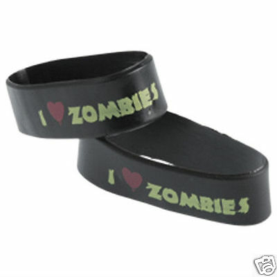 Zombie Birthday Party Supplies (12 I Heart Love Zombie Rubber Bracelets Birthday Party Goody Bag Favor)
