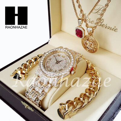 Iced Gold PT Simulated Diamond Pave Watch Ruby QC Chain Cuban Bracelet Set O ()