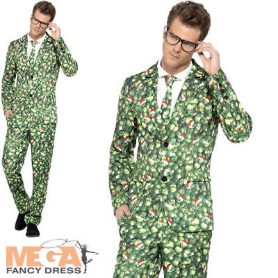 Brussel Sprout Suit Mens Fancy Dress Christmas Xmas Food Adults Costume Outfit - Sprout Costume