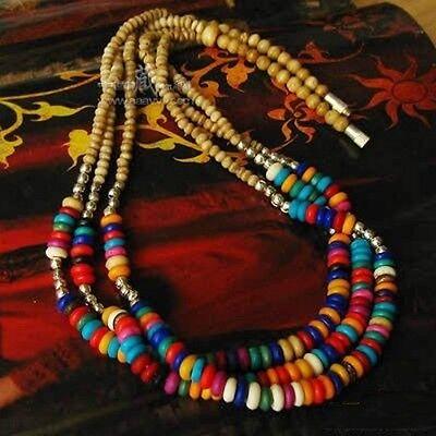 "Beautiful Tibetan Silver Three Layered Yak Bone Beaded Amulet Necklace -19"""