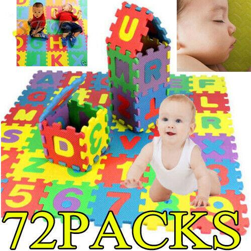 72x Baby Soft EVA Foam Play Mat Alphabet Numbers Puzzle DIY