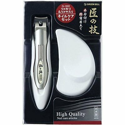 HIgh Quality Finger Nail CLIPPER & File Green Bell Made in Japan G-1002 new.