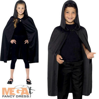 Plain Black Hooded Cape Boys Girls Kids Halloween Fancy Dress Costume Accessory