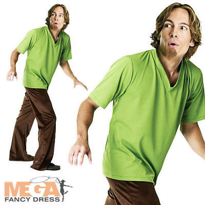Shaggy Costume + Wig Fancy Dress Scooby Doo Cartoon Mens Halloween Adult Outfit