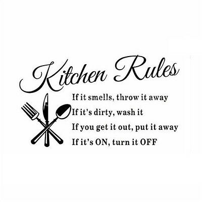 Kitchen Rules Restaurant Wall Sticker Decal Mural DIY Home Decor Art Quote N3