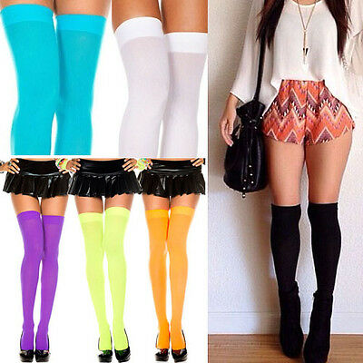 Opaque Thigh High Stockings Pastel & Neon Colors Rave Halloween Witch Costume - Costume Stockings