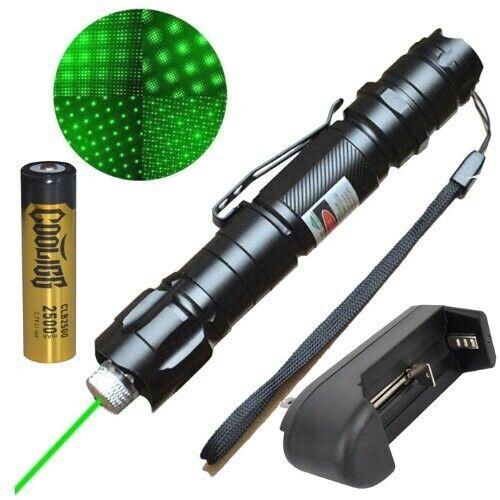 Powerful 5-7 Mile Range Green Laser Pointer Pen + Battery + Charger