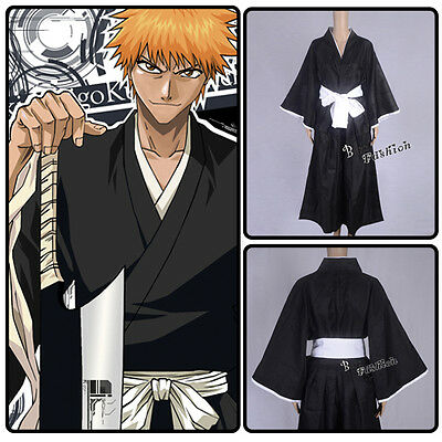 Cosplay Verkleidung Bleach Ichigo Kurosaki Shinigami Death Kostüm Black Mantel (Shinigami Cosplay Kostüm)