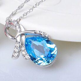 Women's Austrian Crystal 925 Sterling Silver Teardrop Pendant Necklace
