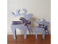 wooden reindeer christmas decorations ornaments hand painted various colours