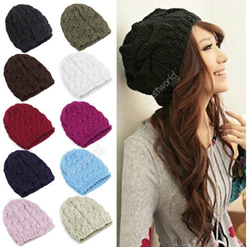 Fashion Women Winter Knitted Crochet Beanie Hat Cap 10 Colors