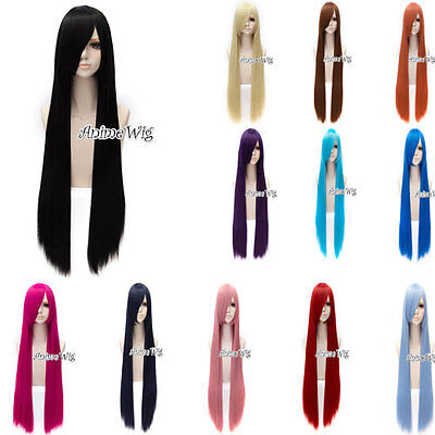 100cm Lolita Halloween Cosplay Perücke Gelatt Maid Anime Langhaar mit Cap Damen (Halloween Maid Haar)