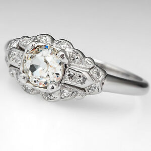 Antique-Old-Mine-Cut-Genuine-Diamond-1930s-Engagement-Ring-Solid-Platinum