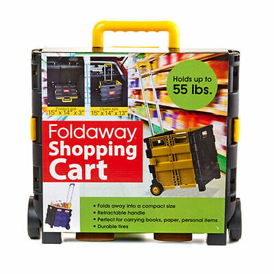 Portable Shopping Cart Foldable Trolley 2-wheel Rolling Collapsible Basket