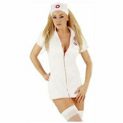 New Classified Halloween Fancy Dress Naughty Nurse Outfit With Hat/medium - Naughty Nurse Kostüm