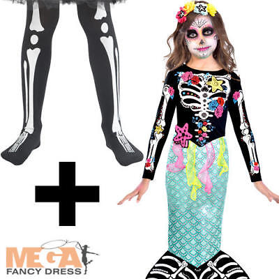 Day of the Dead Mermaid + Tights Girls Fancy Dress Halloween Childs Kid Costume - Dead Mermaid Costume