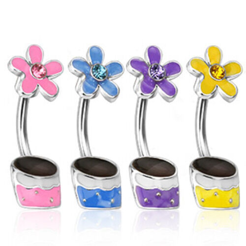 SPECIAL PURCHASE - 4pc Gemmed Flower Pot Belly Rings Navel Naval (B171)