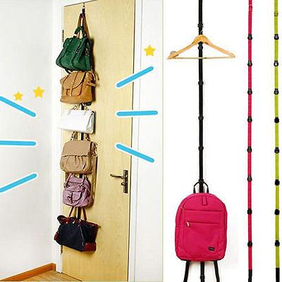 US Stock Adjustable Over Door Straps Hanger Hat Bag Coat Clothes Rack 8 Hooks