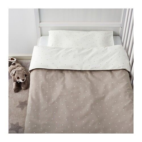 IKEA Nursery 4 Pieces Bed Linen Set for Crib Beige WhiteALSKAD