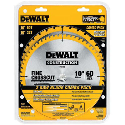 DEWALT 2 Pc 10 in. Series 20 Circular Saw Blade Combo Pack DW3106P5 New ()