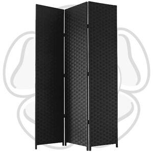 JVL Free standing 1.72m High Folding Black Woven Decorative Screen Room Divider