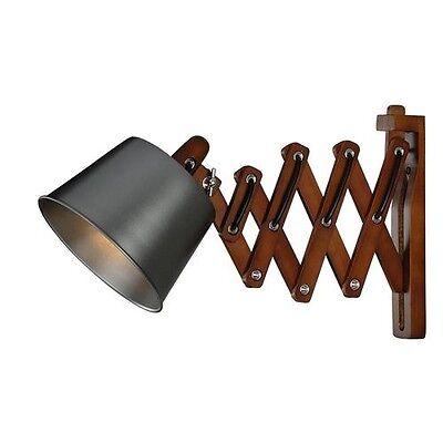 NEW Scissor Cut Swing Arm 1 Light Black Wall Lamp! Wood Warehouse Industrial Black Swing Arm Wall Lamp
