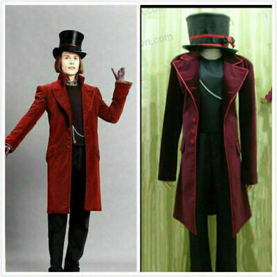 Charlie And Chocolate Factory Costume (Charlie and the Chocolate Factory Willy Wonka cosplay costume!Free shipping)