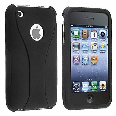 Iphone 3g Hard Snap (Rubberized Hard Snap-on Cup Shape Case for iPhone 3G / 3GS - Black/Black)