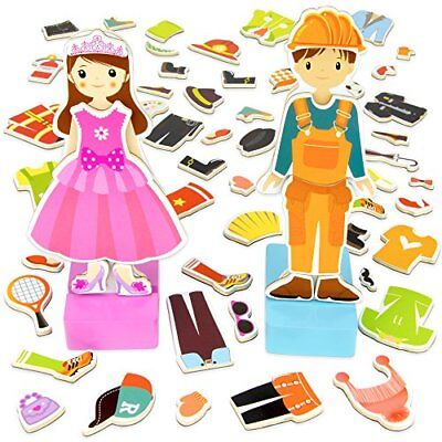 Zoey & Joey Magnetic Wooden Dress-up Playset | Fine Motor Skills Toy, 65 pieces