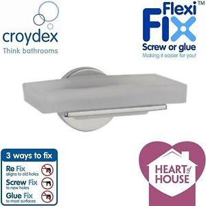Croydex Bathroom Toilet Accessory Misted Glass Soap Dish Chrome Finish