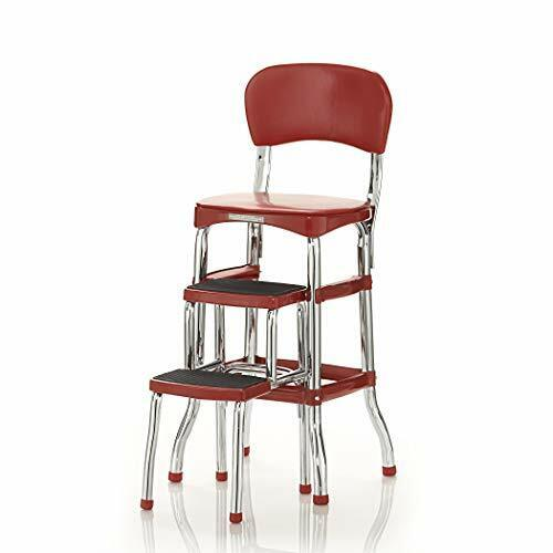 Cosco Retro Counter Chair/Step Stool, Sliding, Red (NEW)