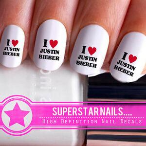 20x-I-Love-Justin-Bieber-Nail-Art-Decals-Wraps-Pop-Star-Water-Transfers-122