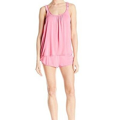 Betsey Johnson Women's Rayon Knit And Satin Short Set, Pink Flirt, Medium