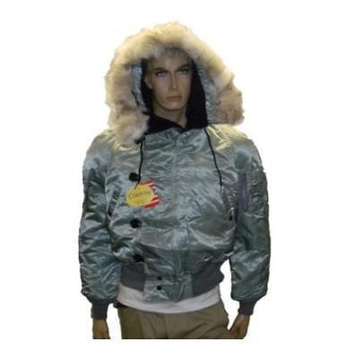 Corinth N2B Flight Parka Coyote Fur Hood Silver NWT Real Fur Lined Flight Jacket Coyote Fur Parka