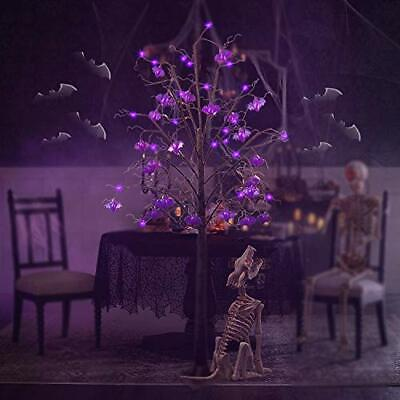 Twinkle Star 6FT Halloween Decorations Black Spooky Tree Glittered with 96 LE...