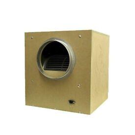 "EX DISPLAY - 10"" 250mm Acoustic Wooden MDF Box Fan 2500m3/h Hydroponics"