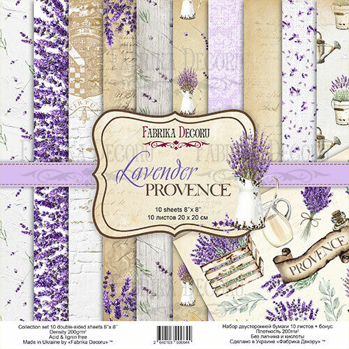 8%22+x+8%22+scrapbooking+paperpad+cardstock+Lavender+Provence+10+designs+x+2sheets